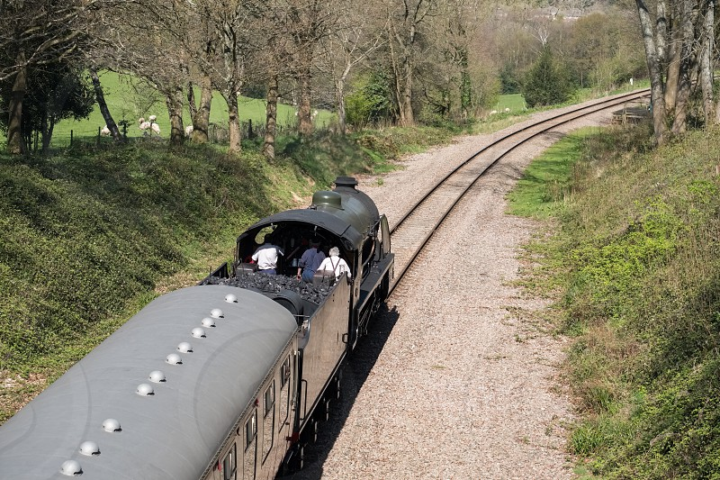 Steam Train on the Bluebell Railway Line in Sussex photo