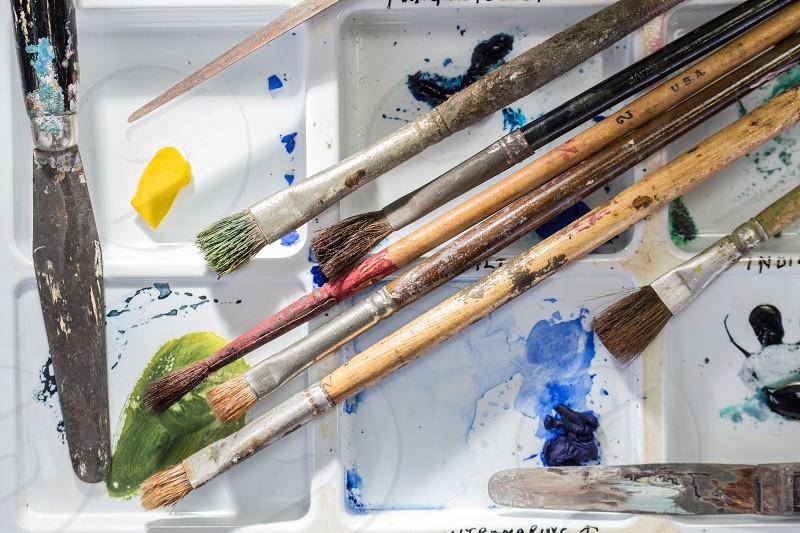 Paint brushes splatter palette artist vintage vibrant  photo