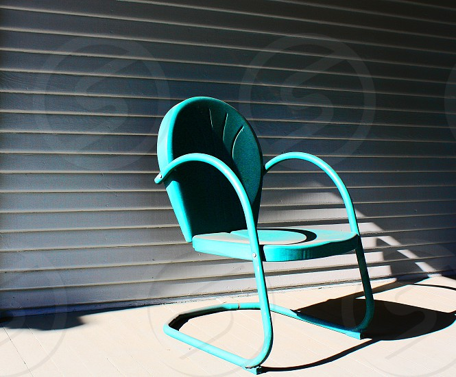 Curved metal garden chair  photo