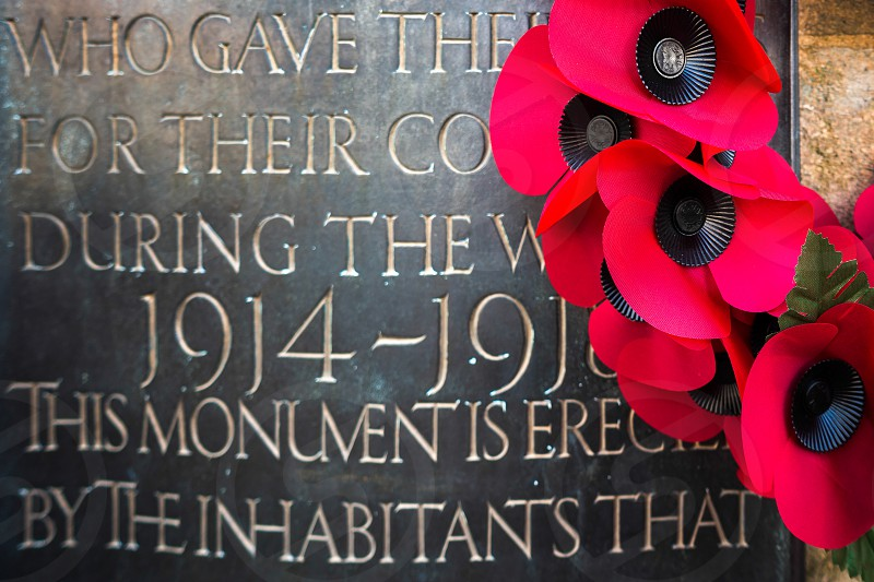 Poppies on the War Memorial  on Remembrance Sunday in East Grinstead photo