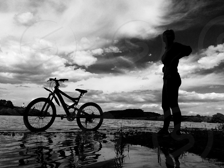 Bikemountain bike girl and bike nature black and white photo