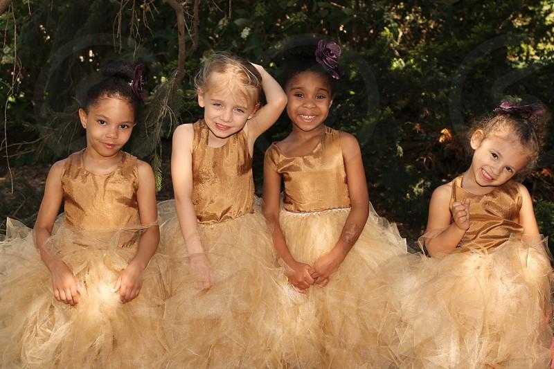 four little girls multi-racial friends photo