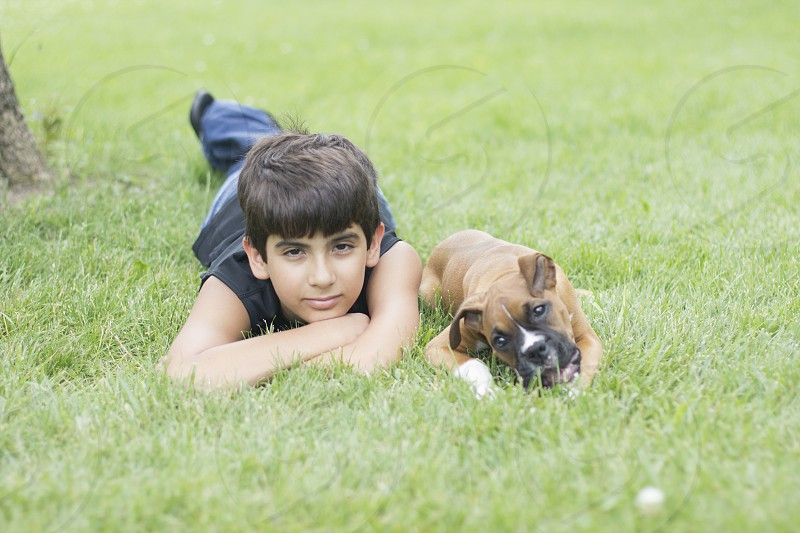 A boy and his dog photo