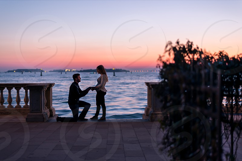 Sunset proposal in Venice Italy. photo