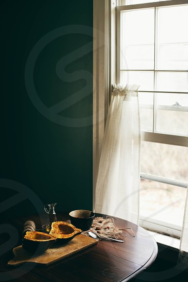 acorn acorn squash squash roasted warm oven baked baked food interior window light soft home rustic photo