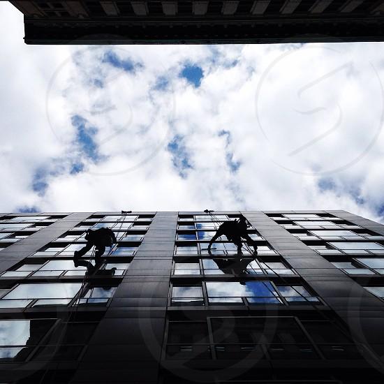 Window washers in New York City. photo