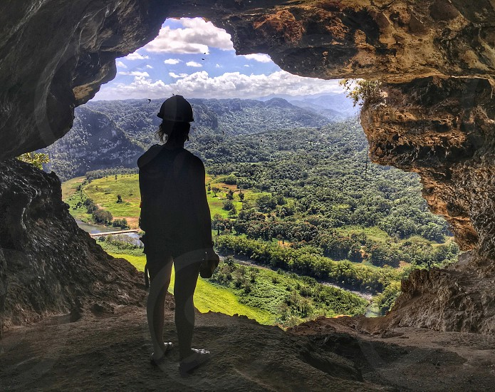 Exploring a cave in Puerto Rico photo