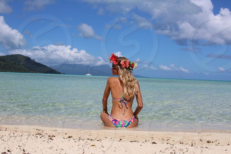 Beach Tahiti Babe Paradise Flowers Ocean photo