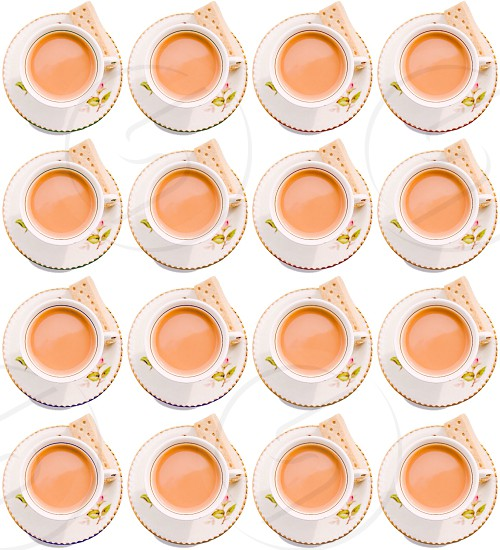 Tea cups drinks lots repeating fun bright cookie tea break coffee break addiction photo