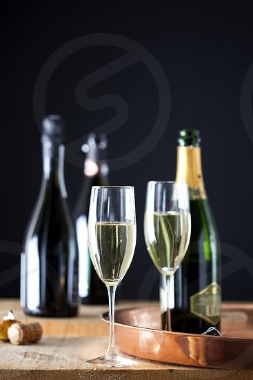 champagne champs celebrate occasion sparkling white wine flutes photo