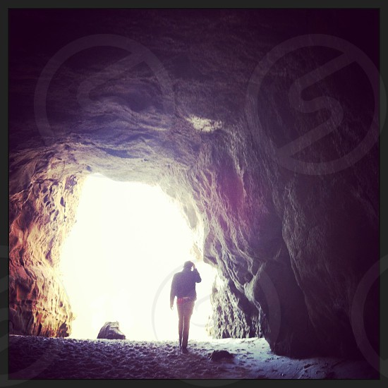 Laguna beach California cave is only accessible during low tide photo