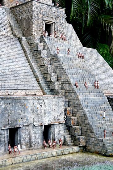 Miniature model of a Mayan temple pyramid photo