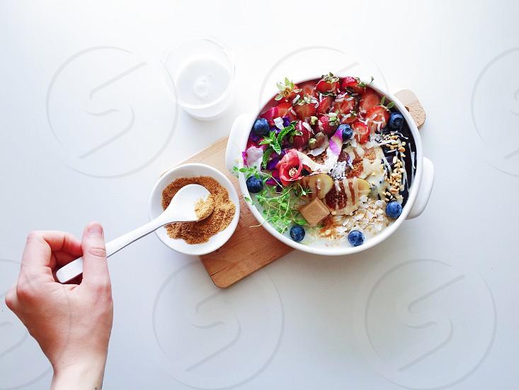 Milk oatmeal drink breakfast table eat food healthy minimalism art creative mornings vsco photo