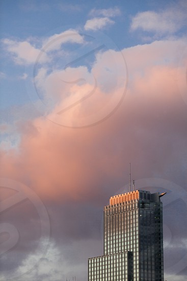 buildingcoorporationskycloudsnegative space growth afternoonbluepink photo