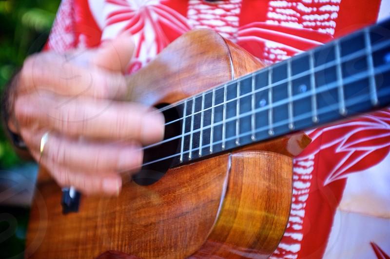 man using brown ukulele photo
