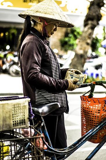 Asian woman with Bike Vietnam photo