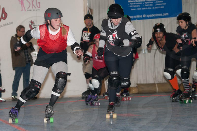 Roller girl indoor competition in Denver Colorado photo
