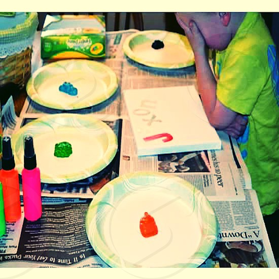 Finger painting is frustrating. photo
