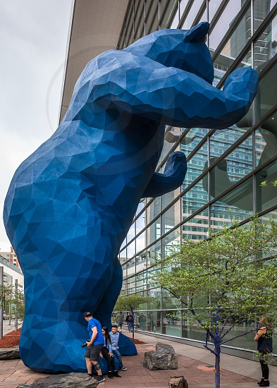 The blue bear sculpture in downtown Denver photo