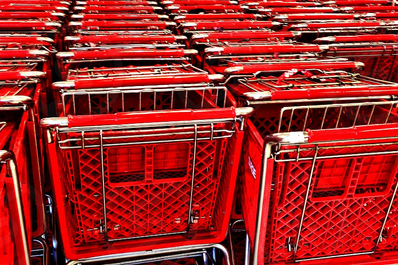 Collection of red shopping carts photo