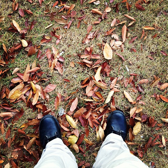 man in white pants and black leather shoes on leaves photo