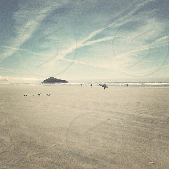 photo of people walking on shoreline photo