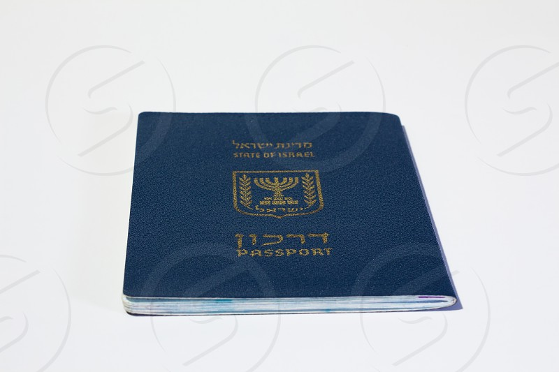Israeli passport on white background. photo