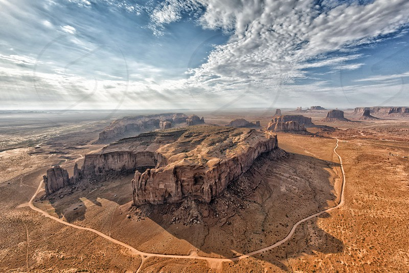 Monument Valley aerial sky view from balloon photo