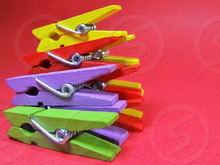 Colors vibrant colorful Herbert Soriano clothespins red yellow Green violet photo