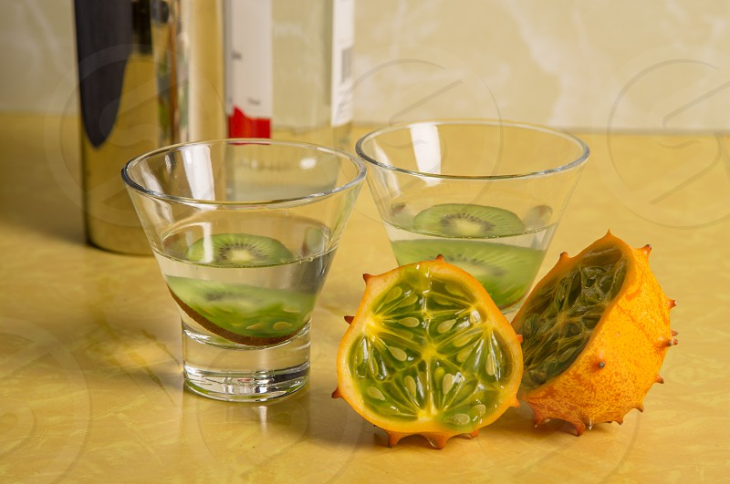 Martinis made with Kiwano Horned Melon and kiwi photo