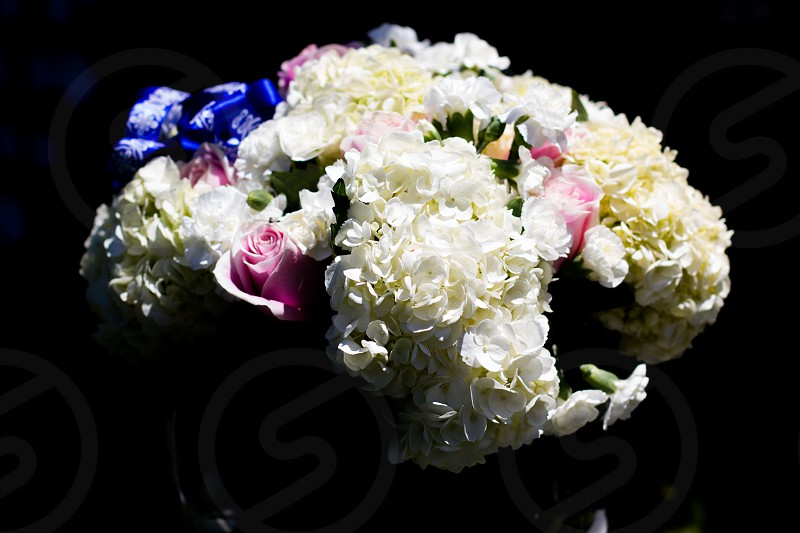 variety of flower bouquet closeup photo with dark background photo