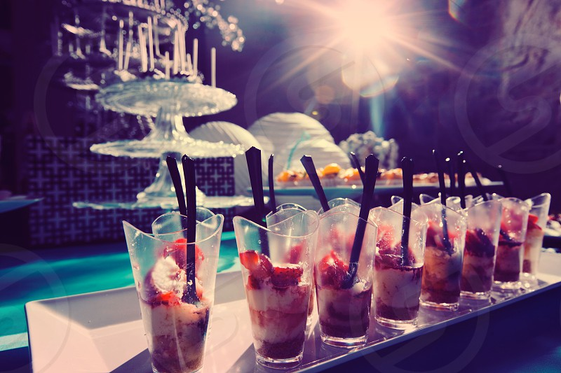 rows of strawberry cold desserts photo