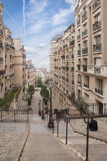 Stairs at Montmartre From the top of a typical staircase in Montmartre Hill. Paris France photo