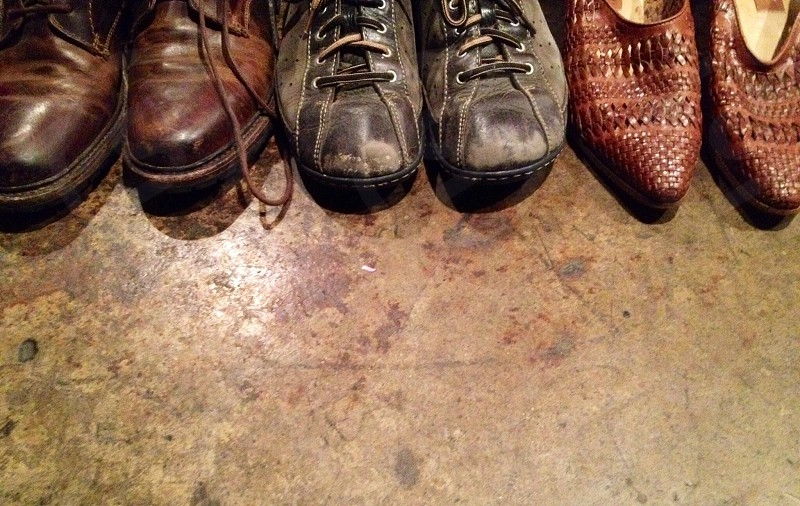 brown leather work boots photo