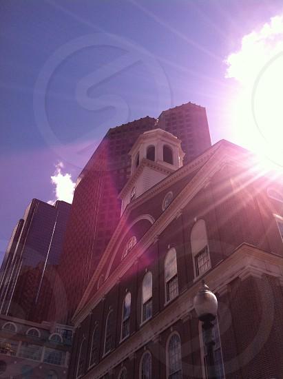 Sunset at Fanieul Hall. Boston MA  photo