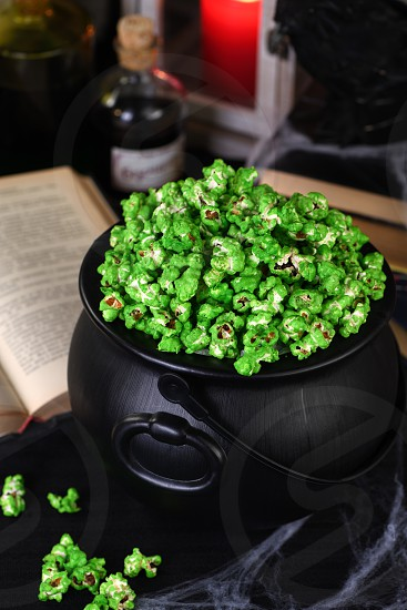 zombie boogers popcorn of Halloween. Tricks and Treats. Ideas and inspiration for spooky chic Halloween table decorations photo