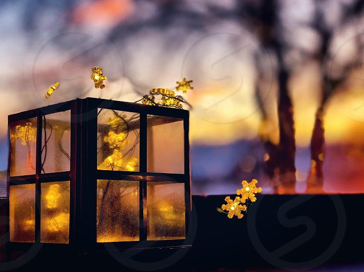 Sunrise snowflake lights photo