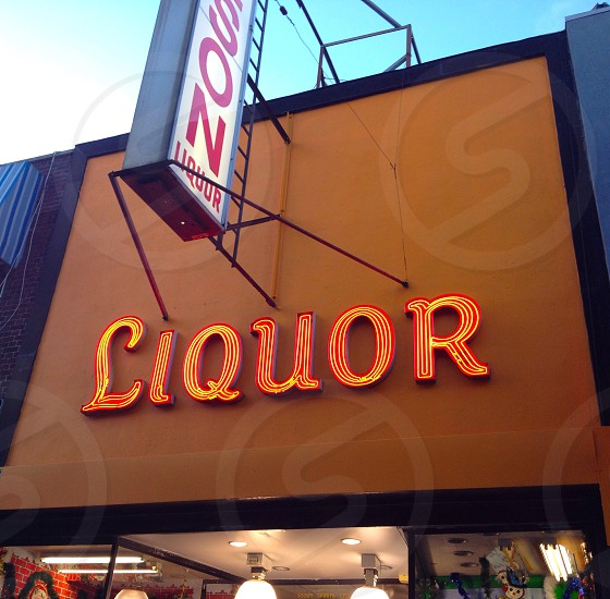Liquor neon lights retro nyc  photo