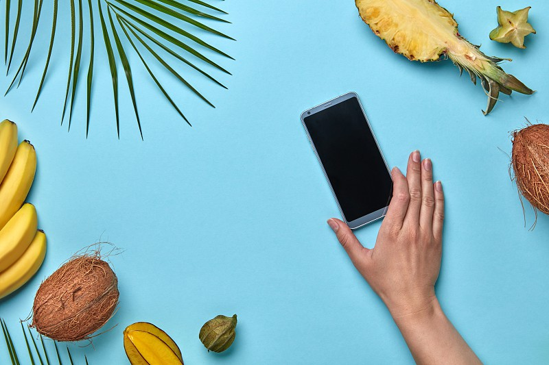 A set of different exotic fruits and a palm leaf. A woman's hand is holding a mobile phone on a blue background with space for text. Purchase of products on the Internet. Flat lay photo
