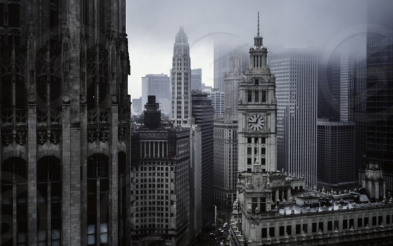 Foggy Chicago skyline. Loop Wrigley Building downtown Chicago architecture fog urban. photo