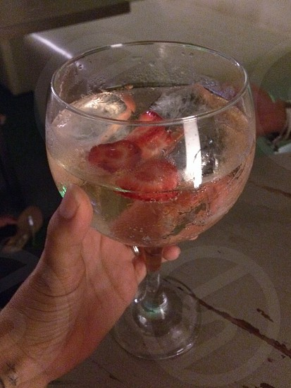 Gin tonic with strawberries photo