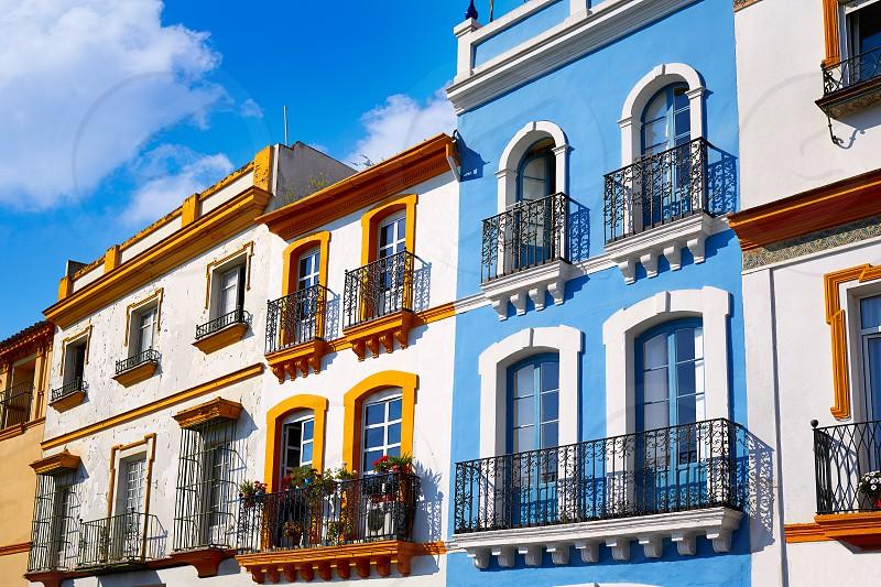 Triana barrio of Seville facades Andalusia Sevilla Spain photo