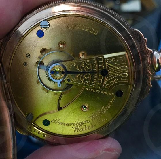 American Waltham pocket watch circa 1880 photo