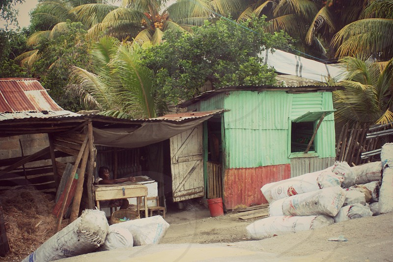 """""""Market"""" A small hut in a Haitian street side market stands out amoung the rest. photo"""