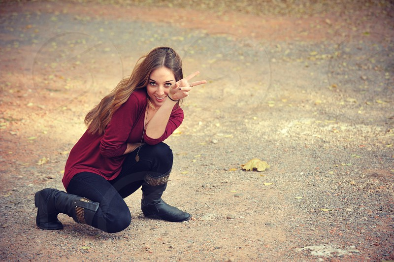 peace red evening afternoon thanksgiving happy brunette fall photo shoot photo