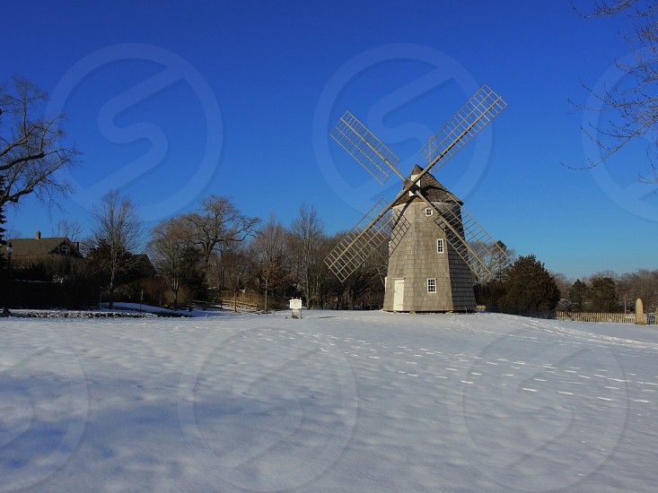 grey windmill and trees photo