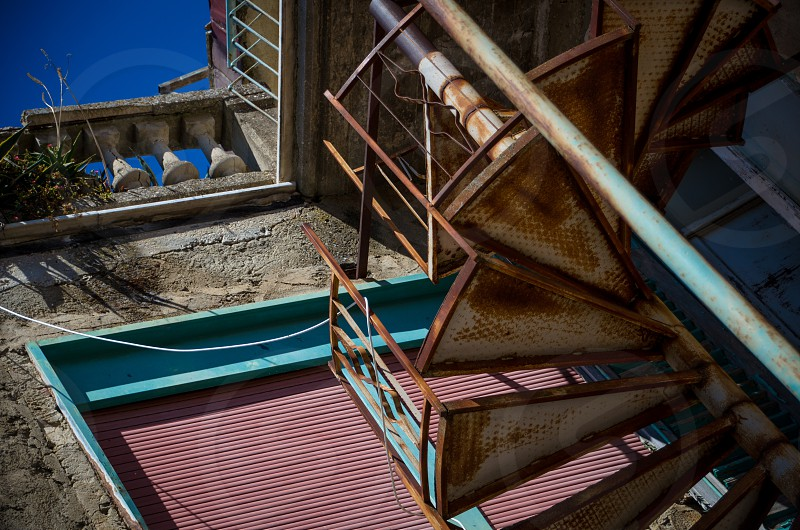 Colourful rusting staircase vintage and old-fashioned Sicily photo