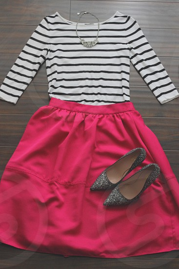 Fashion clothes pumps pink skirt shirt heels necklace glitter accessories photo