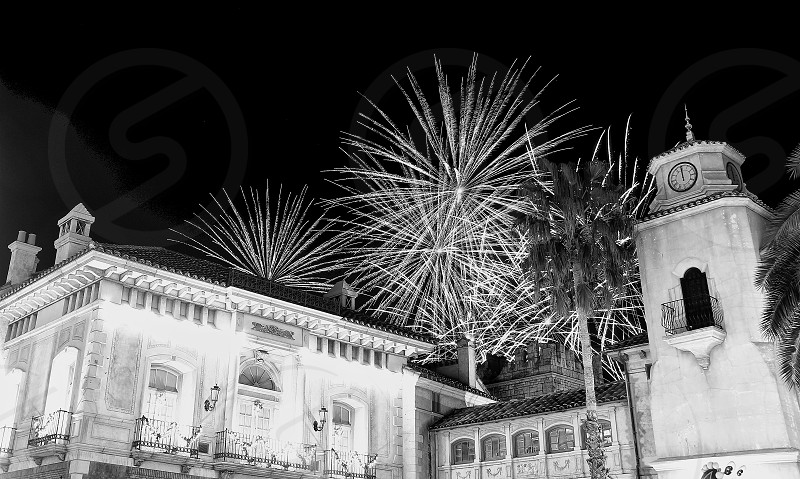 'Fireworks over city' (2)-'New Year's Midnight 0 o'clock Fireworks!  Firworks Fireworks over city New Year City Sparkling Shinning Black and White B&W Monochrome Midnight Clock Tower 12 O'clock O O'clock European Building Classical Building photo