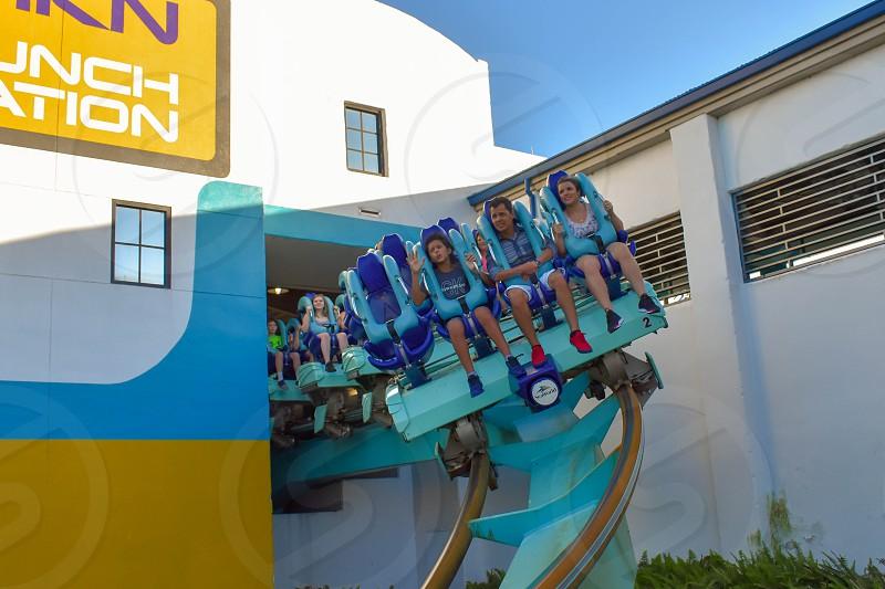 Orlando Florida . February 26  2019.  People enjoying terrific Kraken rollercoaster at Seaworld Theme Park (16) photo